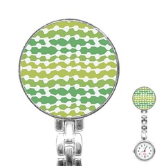 Polkadot Polka Circle Round Line Wave Chevron Waves Green White Stainless Steel Nurses Watch by Mariart