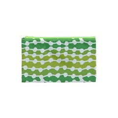 Polkadot Polka Circle Round Line Wave Chevron Waves Green White Cosmetic Bag (xs) by Mariart