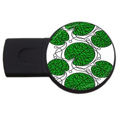 Leaf Green Usb Flash Drive Round (4 Gb) by Mariart