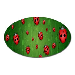 Ladybugs Red Leaf Green Polka Animals Insect Oval Magnet by Mariart