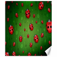 Ladybugs Red Leaf Green Polka Animals Insect Canvas 20  X 24   by Mariart