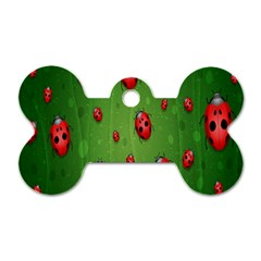 Ladybugs Red Leaf Green Polka Animals Insect Dog Tag Bone (one Side) by Mariart
