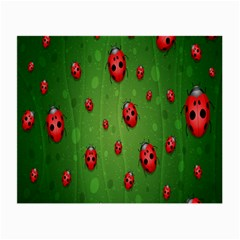 Ladybugs Red Leaf Green Polka Animals Insect Small Glasses Cloth (2-Side) by Mariart