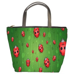 Ladybugs Red Leaf Green Polka Animals Insect Bucket Bags by Mariart
