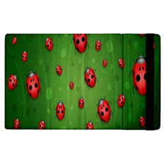 Ladybugs Red Leaf Green Polka Animals Insect Apple Ipad 2 Flip Case by Mariart