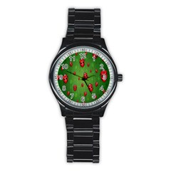 Ladybugs Red Leaf Green Polka Animals Insect Stainless Steel Round Watch by Mariart
