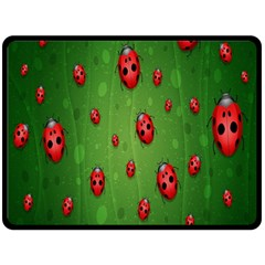 Ladybugs Red Leaf Green Polka Animals Insect Double Sided Fleece Blanket (large)  by Mariart
