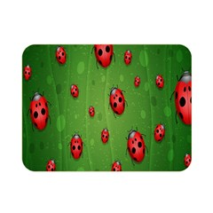 Ladybugs Red Leaf Green Polka Animals Insect Double Sided Flano Blanket (mini)  by Mariart