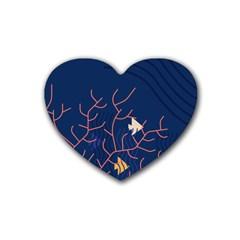 Sea Ocean Beach Swim Fish Wave Waves Chevron Blue Water Rubber Coaster (heart)  by Mariart