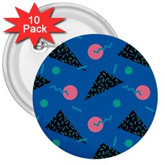 Seamless Triangle Circle Blue Waves Pink 3  Buttons (10 Pack)  by Mariart