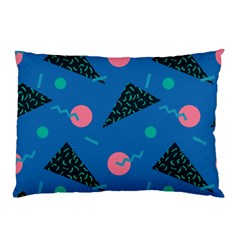 Seamless Triangle Circle Blue Waves Pink Pillow Case (two Sides) by Mariart