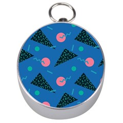 Seamless Triangle Circle Blue Waves Pink Silver Compasses by Mariart