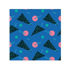 Seamless Triangle Circle Blue Waves Pink Small Satin Scarf (square) by Mariart
