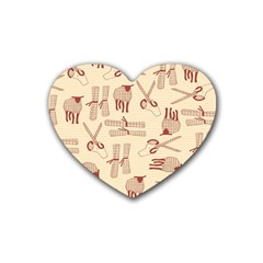 Sheep Goats Paper Scissors Rubber Coaster (heart)  by Mariart