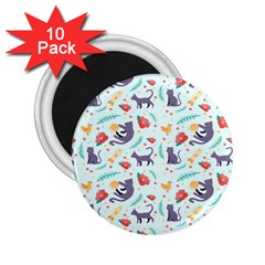 Redbubble Animals Cat Bird Flower Floral Leaf Fish 2 25  Magnets (10 Pack)  by Mariart
