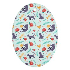 Redbubble Animals Cat Bird Flower Floral Leaf Fish Oval Ornament (two Sides) by Mariart