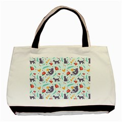 Redbubble Animals Cat Bird Flower Floral Leaf Fish Basic Tote Bag (two Sides) by Mariart