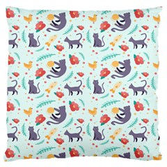 Redbubble Animals Cat Bird Flower Floral Leaf Fish Large Flano Cushion Case (one Side) by Mariart