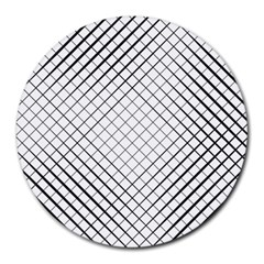 Simple Pattern Waves Plaid Black White Round Mousepads by Mariart