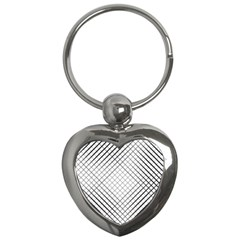 Simple Pattern Waves Plaid Black White Key Chains (heart)  by Mariart