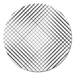 Simple Pattern Waves Plaid Black White Magnet 5  (round) by Mariart