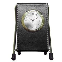 Simple Pattern Waves Plaid Black White Pen Holder Desk Clocks by Mariart