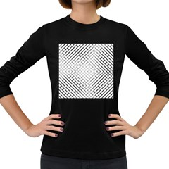 Simple Pattern Waves Plaid Black White Women s Long Sleeve Dark T Shirts by Mariart