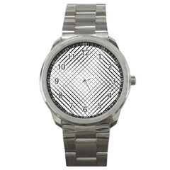 Simple Pattern Waves Plaid Black White Sport Metal Watch by Mariart