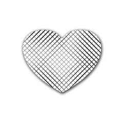 Simple Pattern Waves Plaid Black White Rubber Coaster (heart)  by Mariart