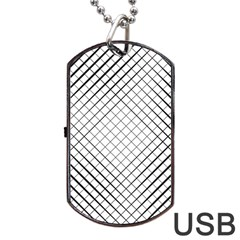 Simple Pattern Waves Plaid Black White Dog Tag Usb Flash (one Side) by Mariart