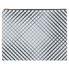 Simple Pattern Waves Plaid Black White Cosmetic Bag (xxxl)  by Mariart