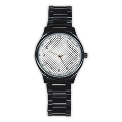 Simple Pattern Waves Plaid Black White Stainless Steel Round Watch by Mariart