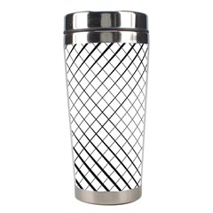 Simple Pattern Waves Plaid Black White Stainless Steel Travel Tumblers by Mariart