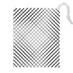 Simple Pattern Waves Plaid Black White Drawstring Pouches (xxl) by Mariart