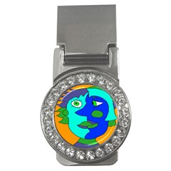 Visual Face Blue Orange Green Mask Money Clips (cz)  by Mariart