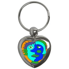 Visual Face Blue Orange Green Mask Key Chains (heart)  by Mariart