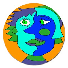 Visual Face Blue Orange Green Mask Magnet 5  (round) by Mariart