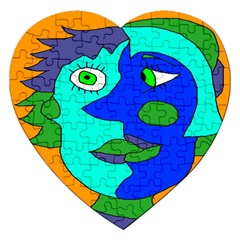 Visual Face Blue Orange Green Mask Jigsaw Puzzle (heart) by Mariart