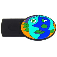 Visual Face Blue Orange Green Mask Usb Flash Drive Oval (4 Gb) by Mariart