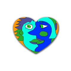 Visual Face Blue Orange Green Mask Heart Coaster (4 Pack)  by Mariart
