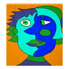 Visual Face Blue Orange Green Mask Shower Curtain 66  X 72  (large)  by Mariart