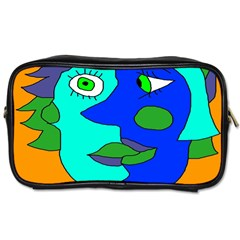 Visual Face Blue Orange Green Mask Toiletries Bags 2 Side by Mariart