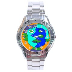 Visual Face Blue Orange Green Mask Stainless Steel Analogue Watch by Mariart