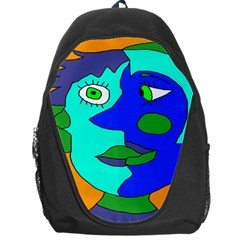 Visual Face Blue Orange Green Mask Backpack Bag by Mariart