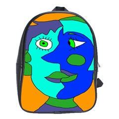 Visual Face Blue Orange Green Mask School Bags (xl)  by Mariart