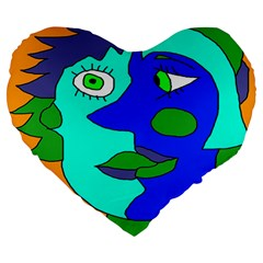 Visual Face Blue Orange Green Mask Large 19  Premium Heart Shape Cushions by Mariart