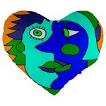 Visual Face Blue Orange Green Mask Large 19  Premium Heart Shape Cushions Front