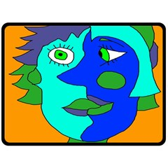Visual Face Blue Orange Green Mask Double Sided Fleece Blanket (large)  by Mariart
