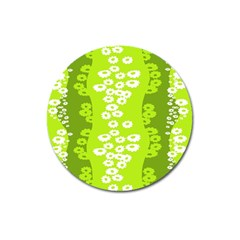 Sunflower Green Magnet 3  (round) by Mariart