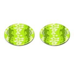 Sunflower Green Cufflinks (oval) by Mariart
